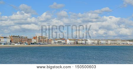Panoramic view of The Esplanade in Weymouth Dorset