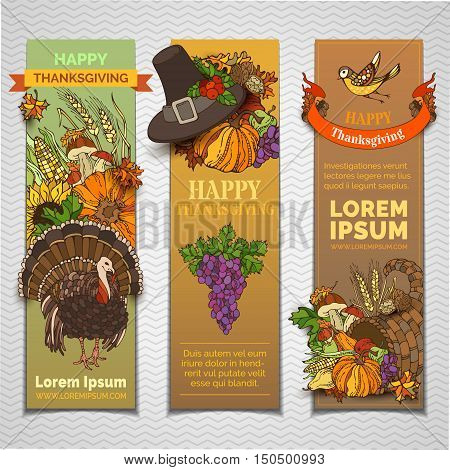 Vector Thanksgiving Vertical Banners Set.