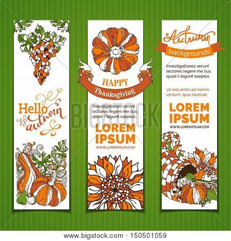 Vector Set Of Bright Thanksgiving Vertical Banners.