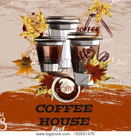 Coffee vector illustration with mugs and maple leafs. Coffee house