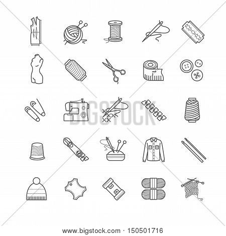 Outline web icons - needlework, sewing, knitting for your design