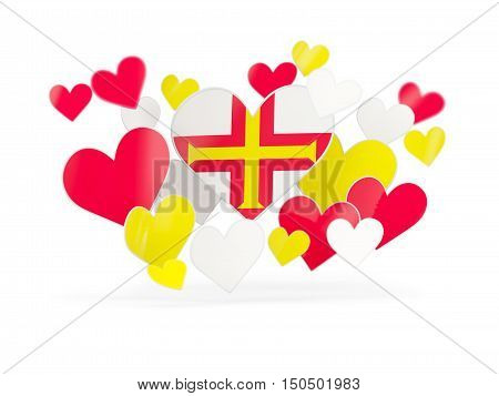 Flag Of Guernsey, Heart Shaped Stickers