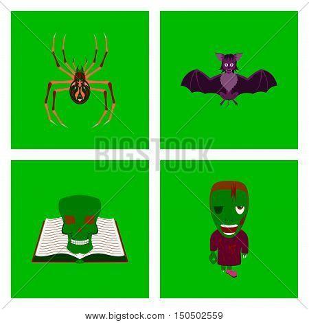 assembly of flat illustration spider bat book skull zombie men