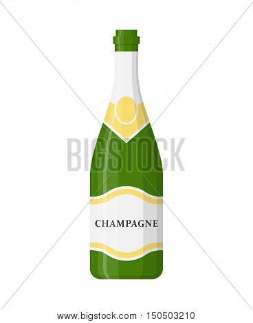 Champagne bottle vector isolated on white background. Alcohol celebration wine champagne bottle. Holiday gold glass new year party beverage champagne romantic drink bottle.