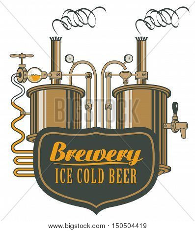 vector logo for beer brewery with barrels in retro style