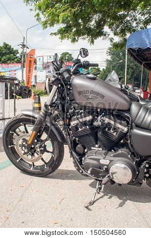 Thailand. 1 October 2016. The new model motor cycles year 2016 of The Harley-Davidson. Sportster type Iron 883 model 883 cc 67 Nm/Torque. Test drive events.