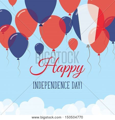 France Independence Day Flat Greeting Card. Flying Rubber Balloons In Colors Of The French Flag. Hap