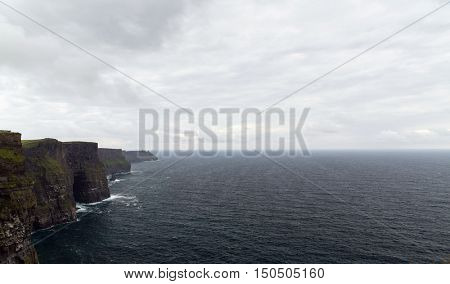 nature and landscape concept - view to cliffs of moher and atlantic ocean in ireland