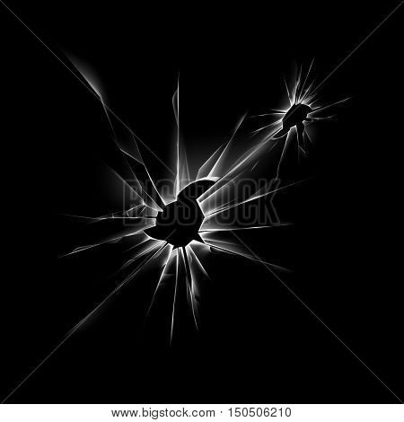 Vector Transparent Broken Shattered Crack Glass Window with Sharp Edges Close up Isolated on Dark Black Background