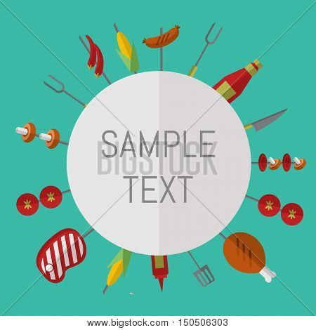 Vector illustration barbecue grill card. Skewers with meat and vegetables, ketchup and grill tools around white space for text. Food banner. BBQ party invitation in flat style. Bbq grill concept and bbq grill vector icon. Bbq elements for ad or grill menu