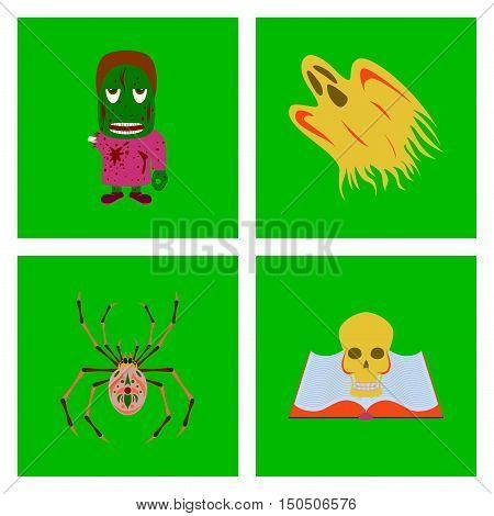 assembly of flat illustration zombie men ghost spider book skull