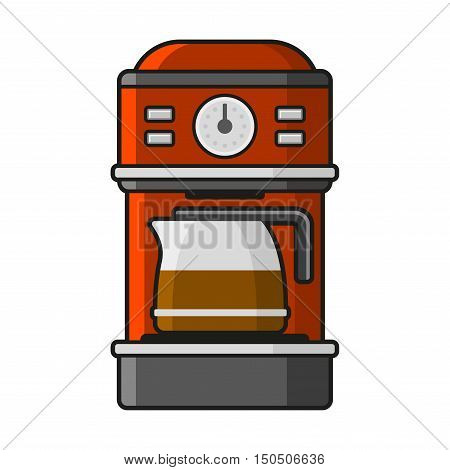 Coffee Machine Icon with a Hot Coffee. Vector illustration