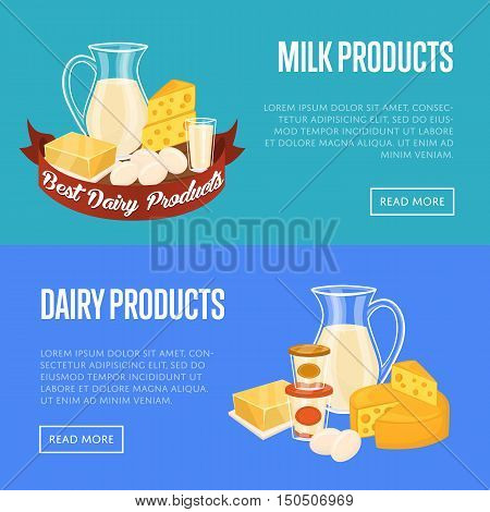 Dairy horizontal templates with different milk products vector illustrations. Nutritious and healthy products. Natural and healthy food. Organic farmers food. Organic food and dairy product concept. Milk product icon. Cartoon dairy product. Dairy icon.