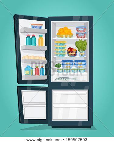 Refrigerator full of food. Opened fridge filled with daily products vector illustration. Saving freshness of products. Space organization in freezer. Nutrients. Fridge or refrigerator with food. Cartoon vector fridge isolated. Open fridge with freezer.
