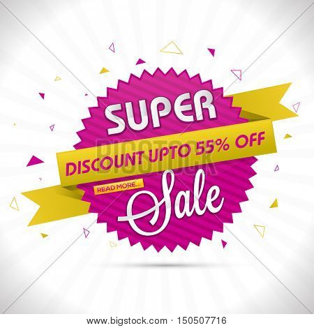 Super Sale, Sticker, Tag or Label with Flat Discount Upto 55% Off Ribbon, Vector illustration.