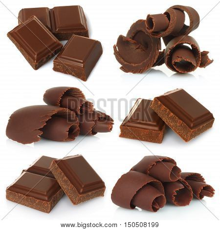 Chocolate shavings with pieces of chocolate bar set on white background