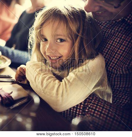Father Hugging Daughter Thanksgiving Celebration Concept