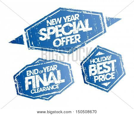 New year special offer, end of year final clearance and holiday best price stamps set, christmas holidays sale signs