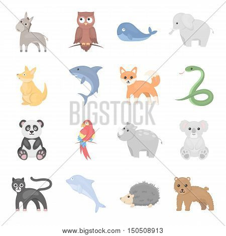 Animal icons set. Big collection of different wild animal. Predator and herbivorous, sea and ground animal symbol. Set of exotic animal in wild world cartoon style - stock vector
