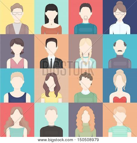 Face icons set. Big vector collection of man and woman face. Adult and old people face in different clothes and style. Different hairstyles and face style.