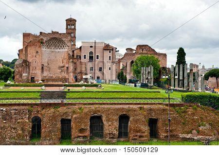 ruins on ancient forum romanum in Rome Italy