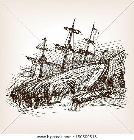 Wrecked ancient sailing ship sketch style vector illustration. Old hand drawn engraving imitation.