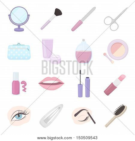 Make up cartoon icon. Vector collection of make up equipment and make up tool. Beauty, powder, lipstick and other make up symbol in flat cartoon design.