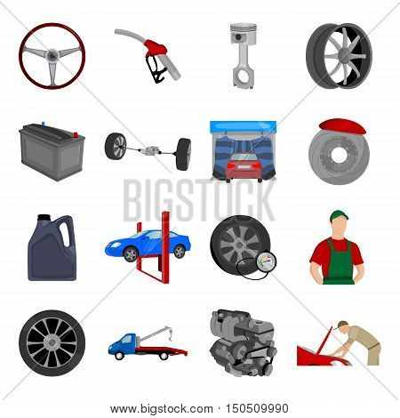 Car repair icon collection. Vector set icons of car repair station in cartoon style. Engine, wheel and other car repair symbol. Unique design of car, mechanic and repair icons - stock vector