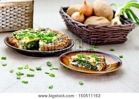 pice of potatoe spanish tortilla at plate