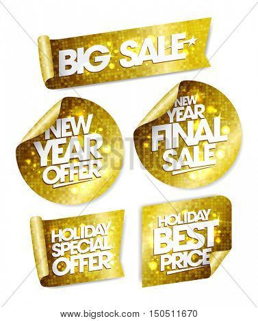 Golden stickers set - big sale, new year offer, new year final sale, holiday special offer, holiday best price poster