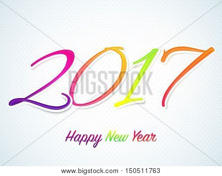 Colorful text 2017 on shiny background, Creative sticker or label design for Happy New Year celebration.