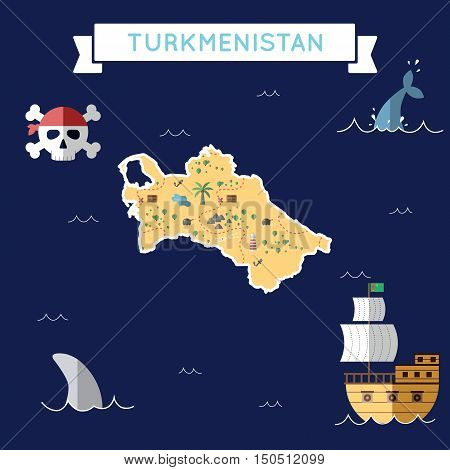 Flat Treasure Map Of Turkmenistan. Colorful Cartoon With Icons Of Ship, Jolly Roger, Treasure Chest