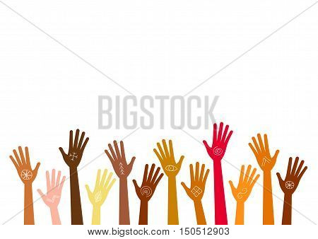 Hands up of different races colors nationalities with ancient signs and symbols. Isolated silhouette vector anthropology concept on white background.