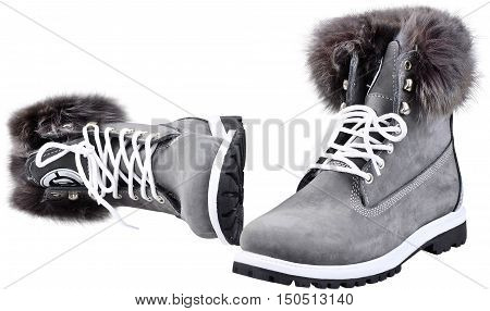 Fur or faux fur lined high tops