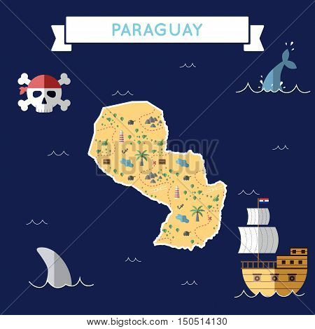 Flat Treasure Map Of Paraguay. Colorful Cartoon With Icons Of Ship, Jolly Roger, Treasure Chest And