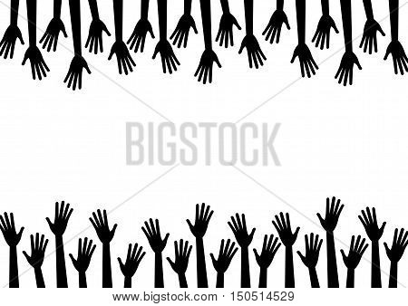 Black silhouette hands reach to the empty center frame. Vector human arms on white background for text copy space. Top bottom