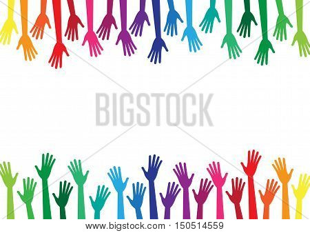 Diversity multicolored hands reach to the empty center frame. Yellow orange red green blue purple violet colors. Vector human arms on white background for text copy space. Rainbow. Top bottom