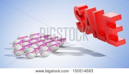 Group people in glasses and sale sign. The concept of a expectation large sell-off. 3d high resolution illustration.