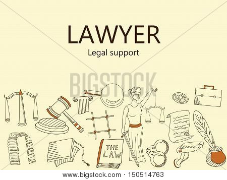 Lawyer. Legal support banner vector illustration. Icons art set Doodle line design of web banner template with outline law firm, business, court evidence, prison, law, legislation, crime, document