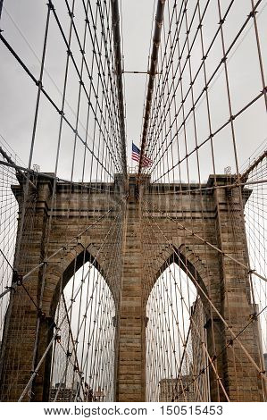 Threw Brooklin bridge in New York city in USA