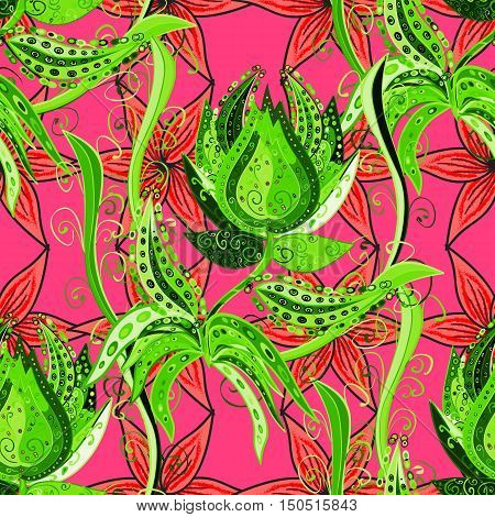 Seamless vector pattern with green dooles of flowers on a pink background.