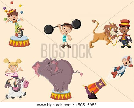 Retro circus cartoon characters and animals. Vintage carnival children.