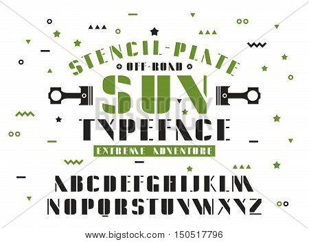 Stock vector set of sanserif stencil-plate font. Bold typeface
