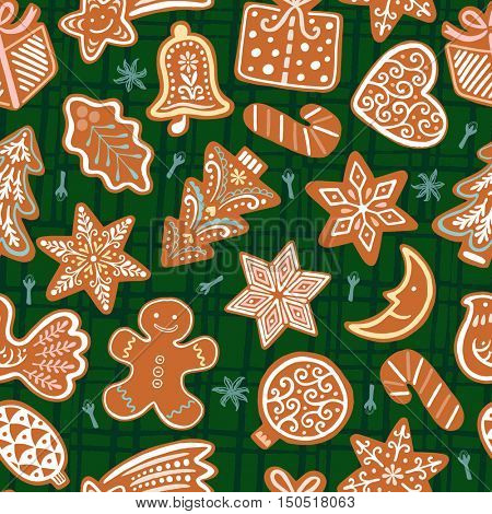 Seamless vector pattern with gingerbread cookies on green background. Christmas decorative wallpaper