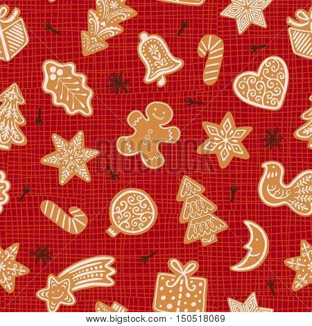 Seamless vector pattern with gingerbread cookies on bright red background. Christmas ornament