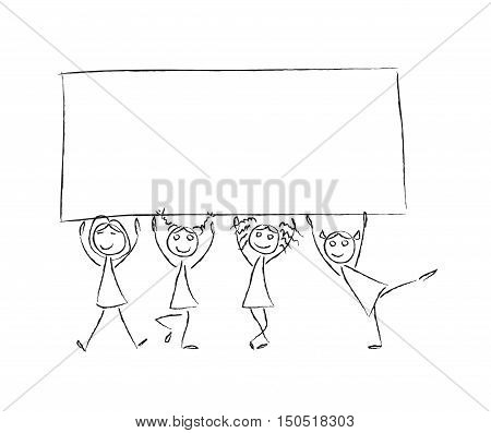 Children hold banner empty frame. Sketch vector black and white illustration. Kids holding blank sign board for text. Stick. Back to school.