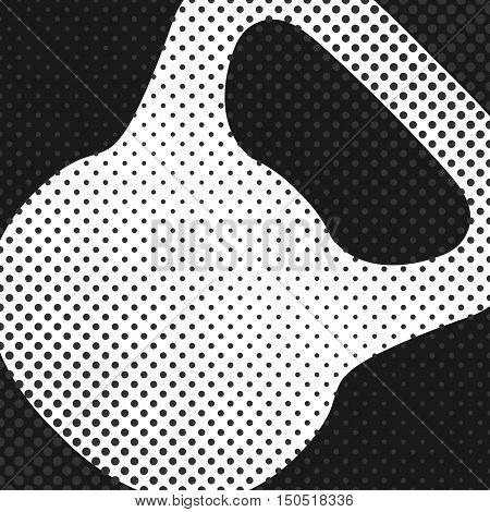 Sports background with kettlebell inventory items for the gym the effect of halftone and place for your text vector illustration.
