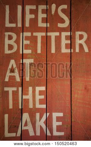 Wooden board with an inscription quote: