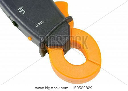 Electrical measurements clamp meter tester on white background