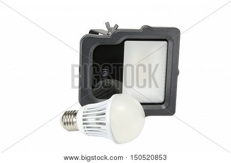 Outdoor Waterproof LED Floodlight and led lamp Isolated On White Background